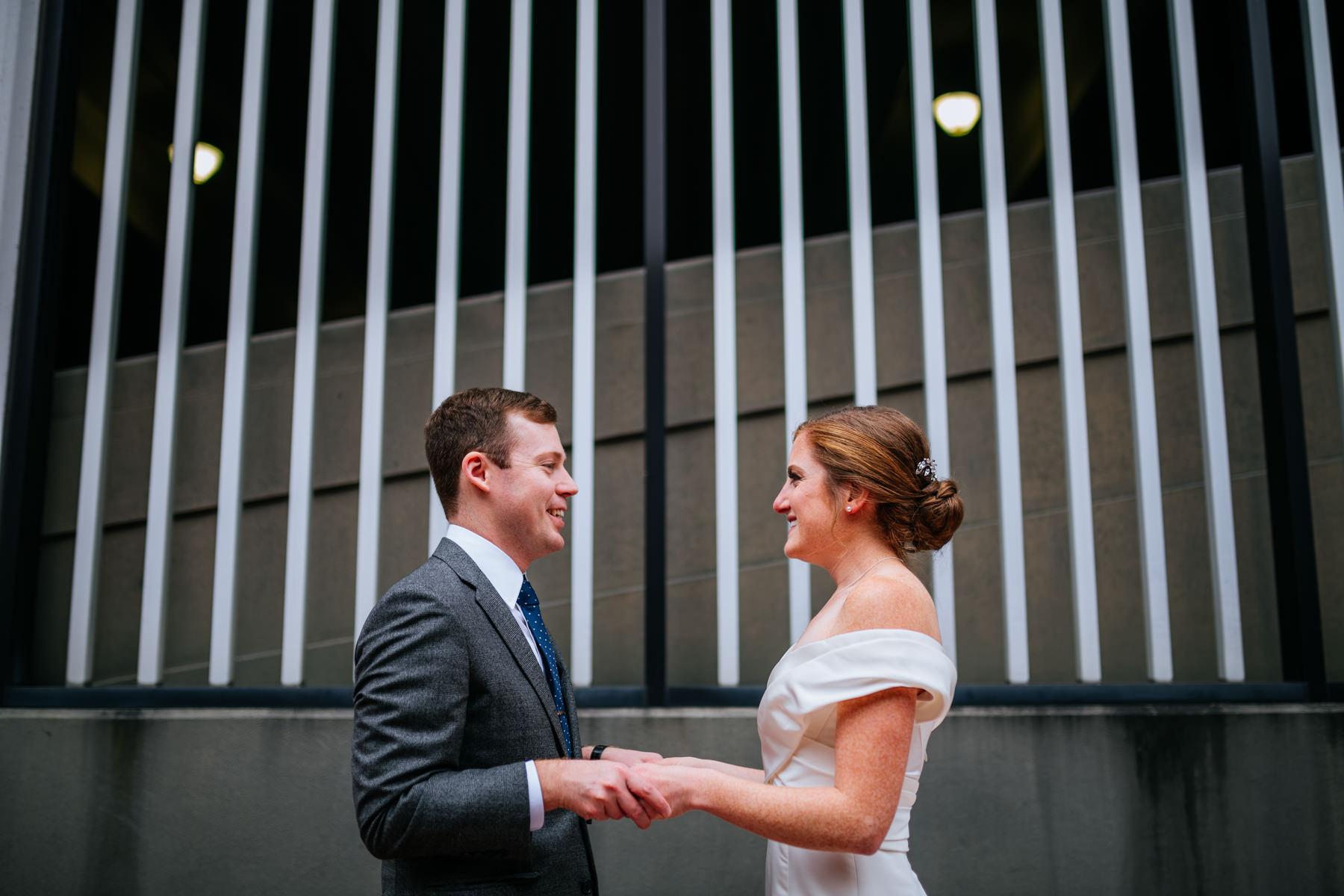 bride groom see each other