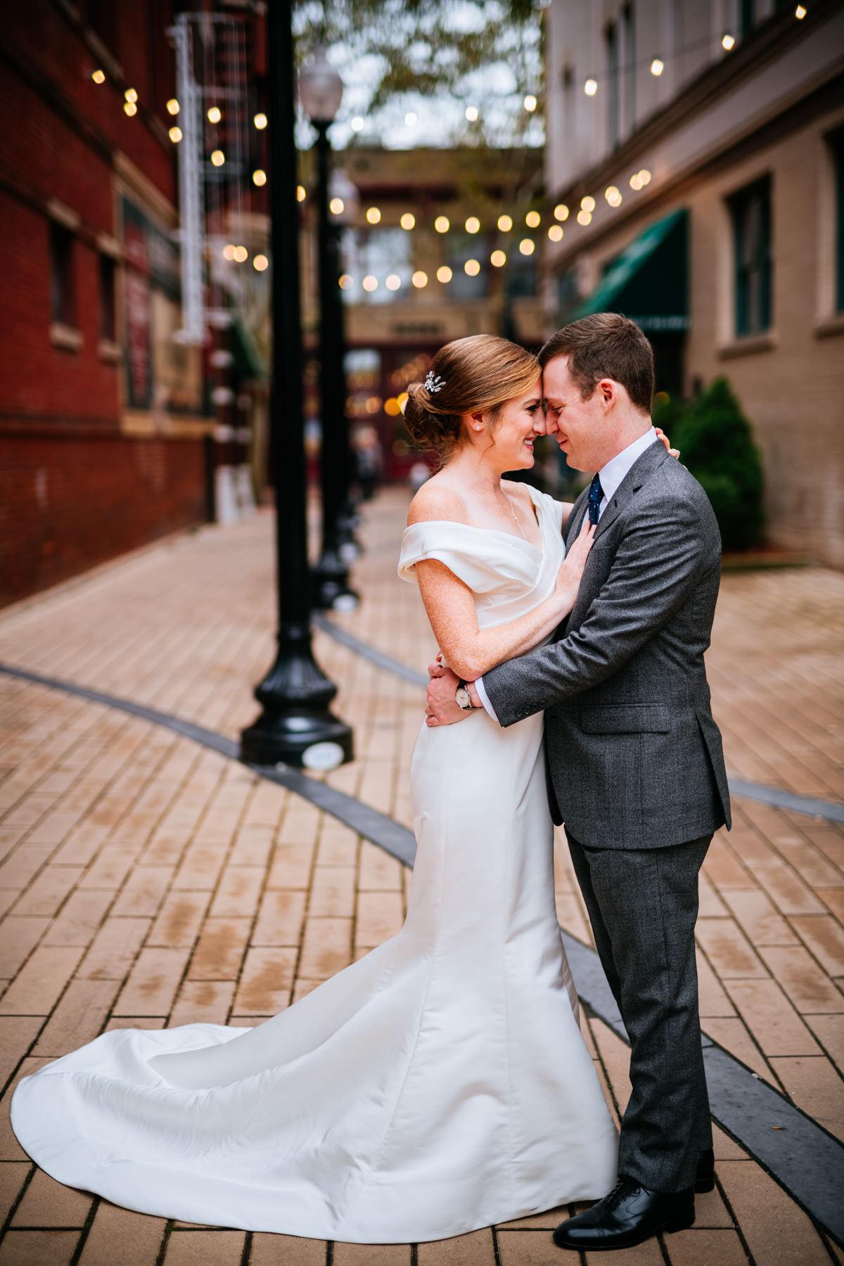 bride groom hugging capitol street charleston wv