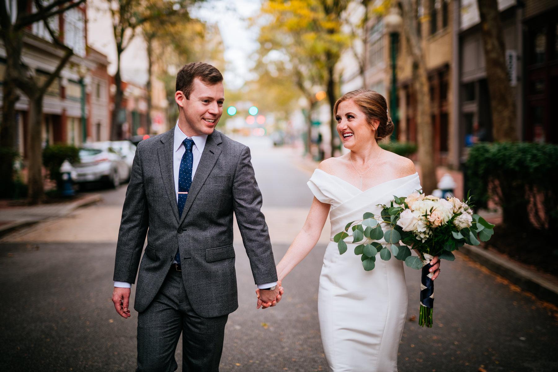 bride groom walking down capitol street wv