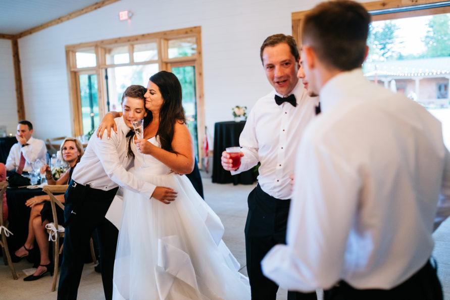 hugging bride