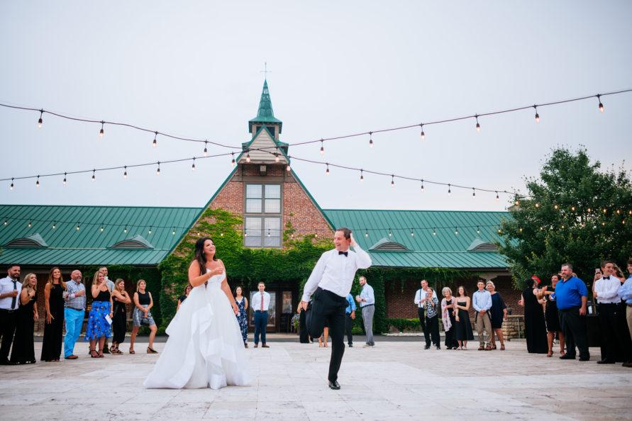 silly groom dancing wedding reception