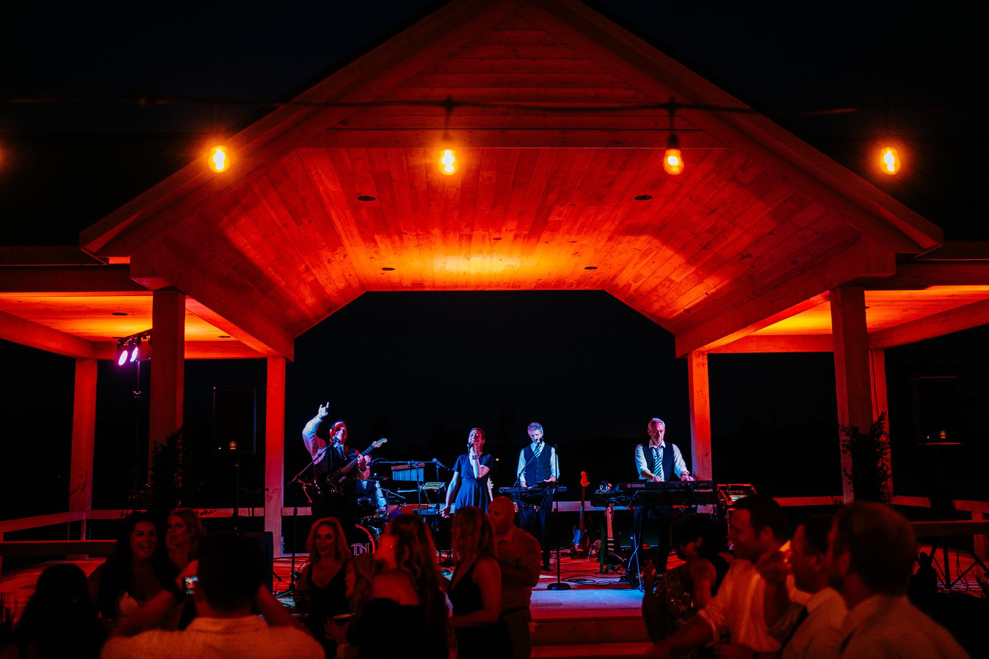 band playing wedding reception