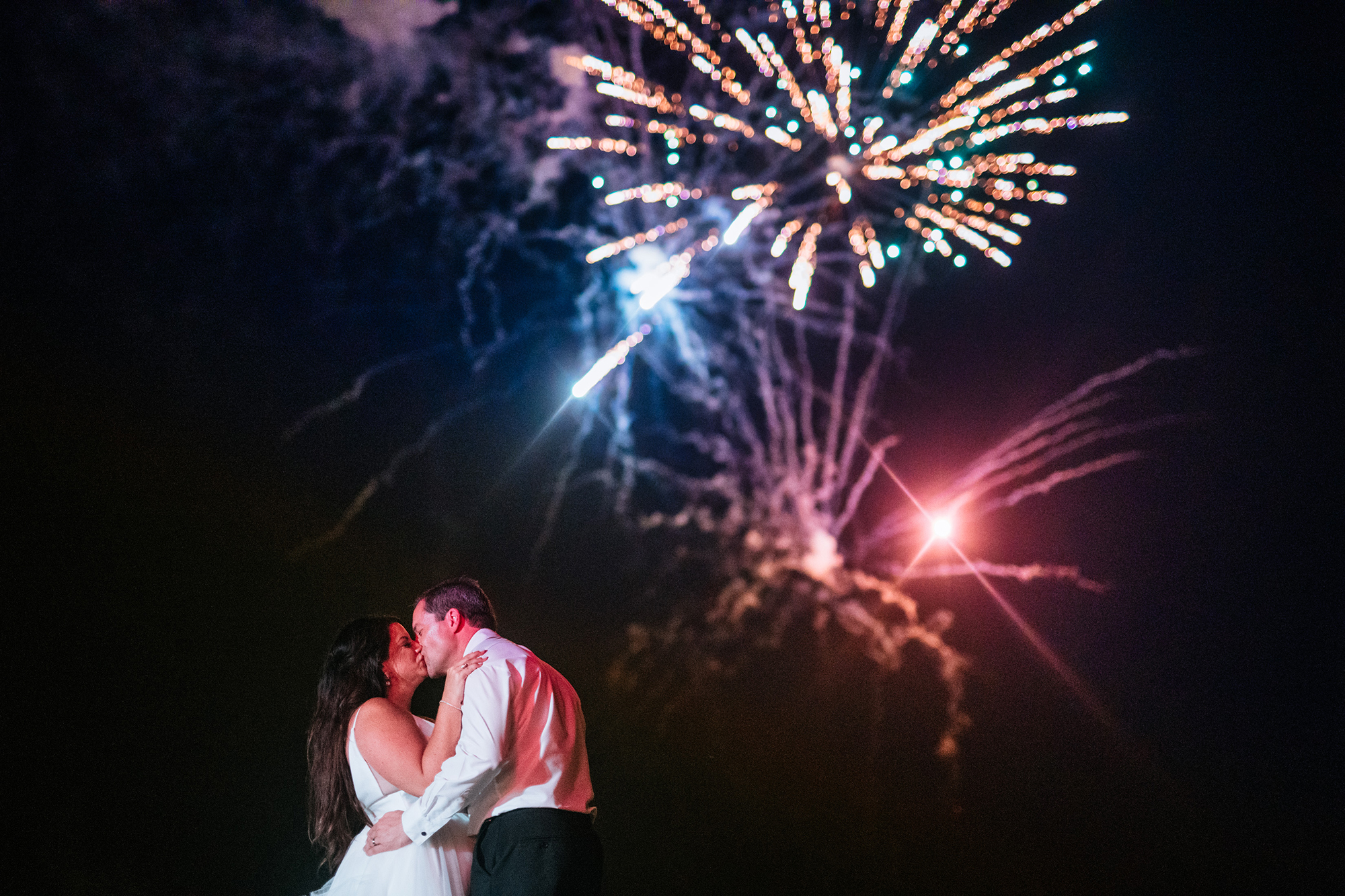 fireworks during wedding reception