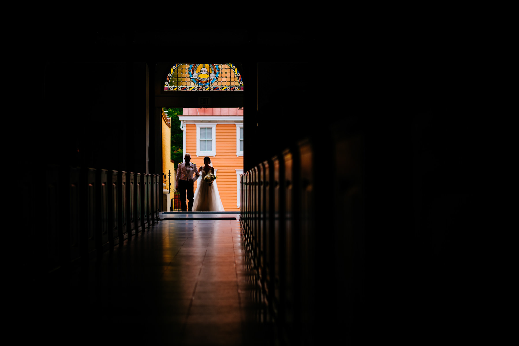 bride entering cathedral