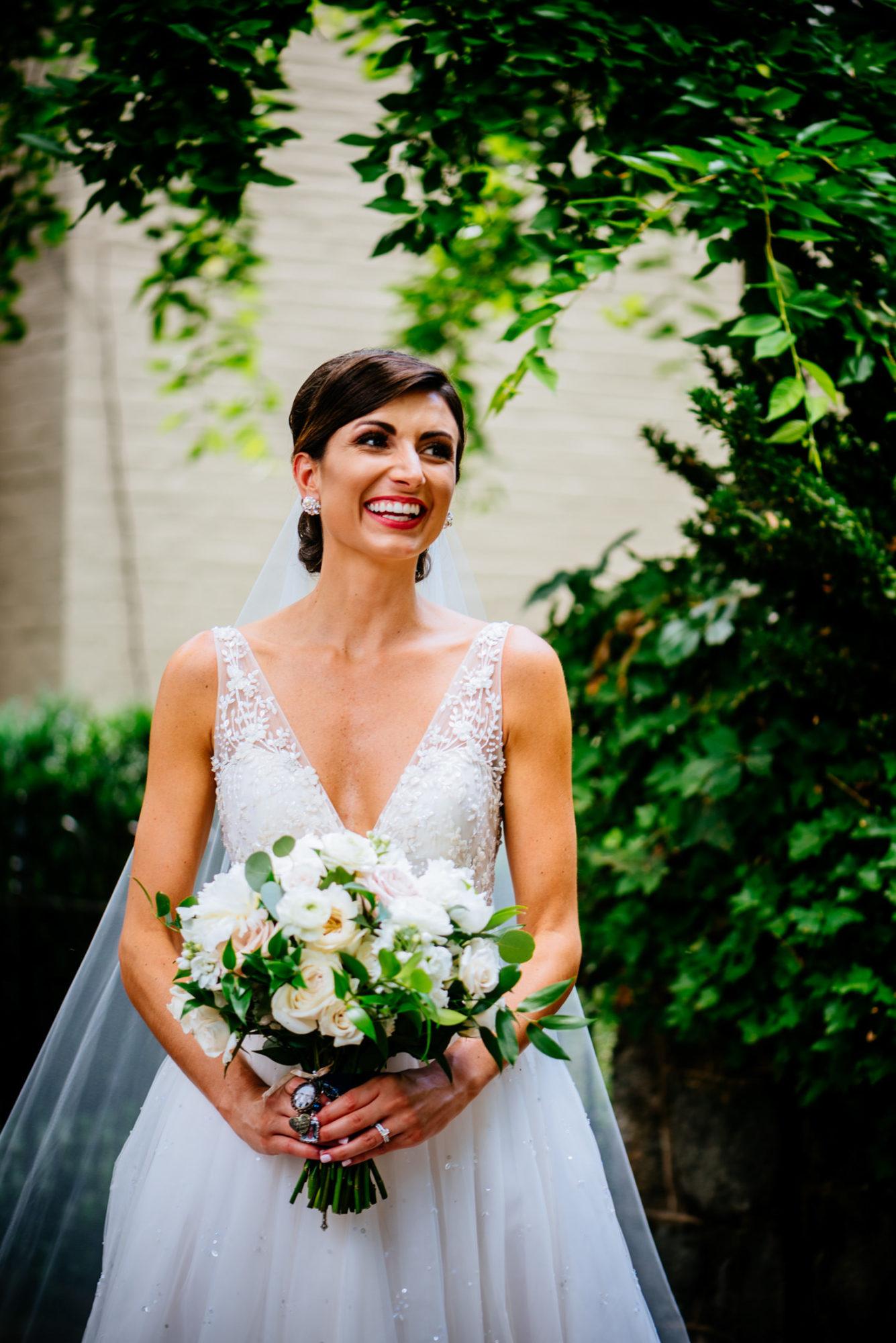 happy bridal portrait