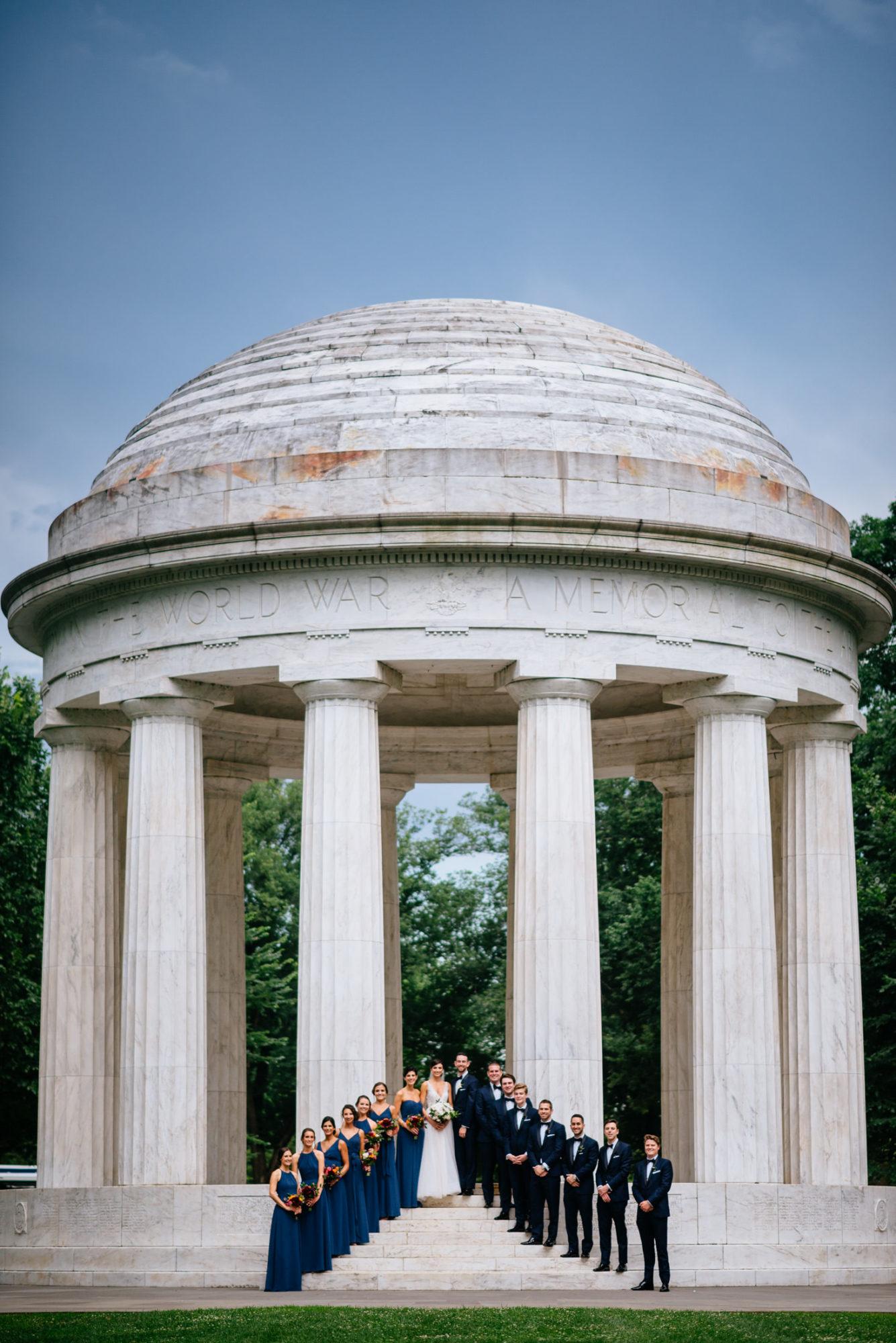 war memorial washington dc wedding party photo