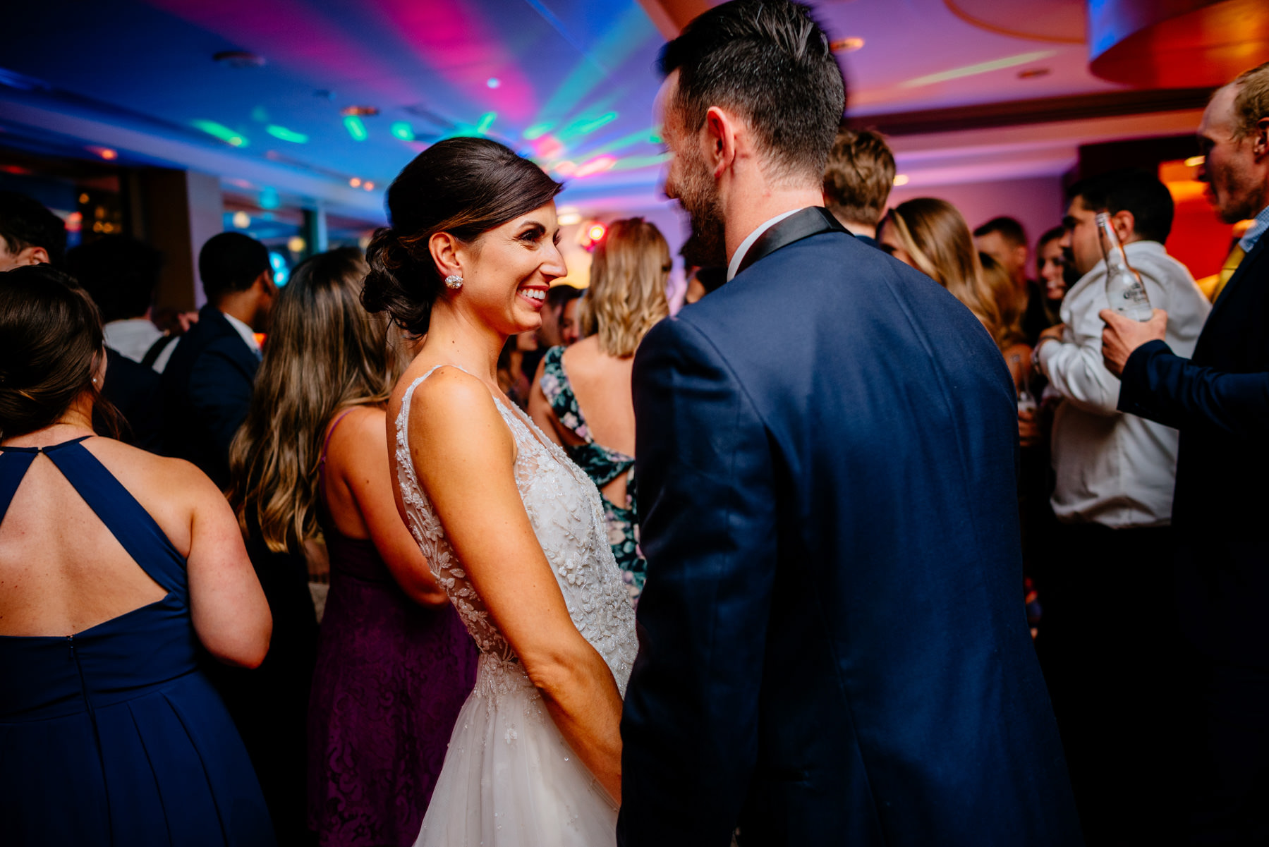 smiling bride at reception