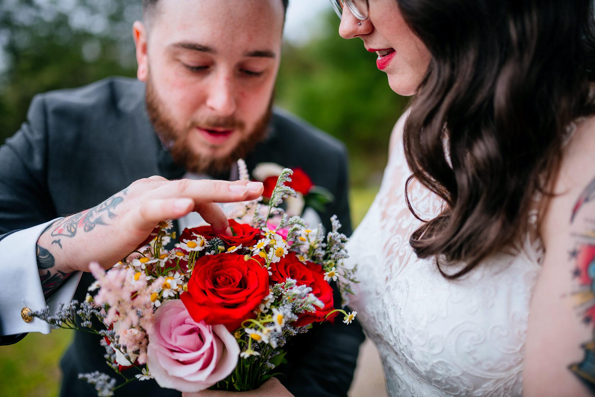 four leaf clover in bridal bouquet
