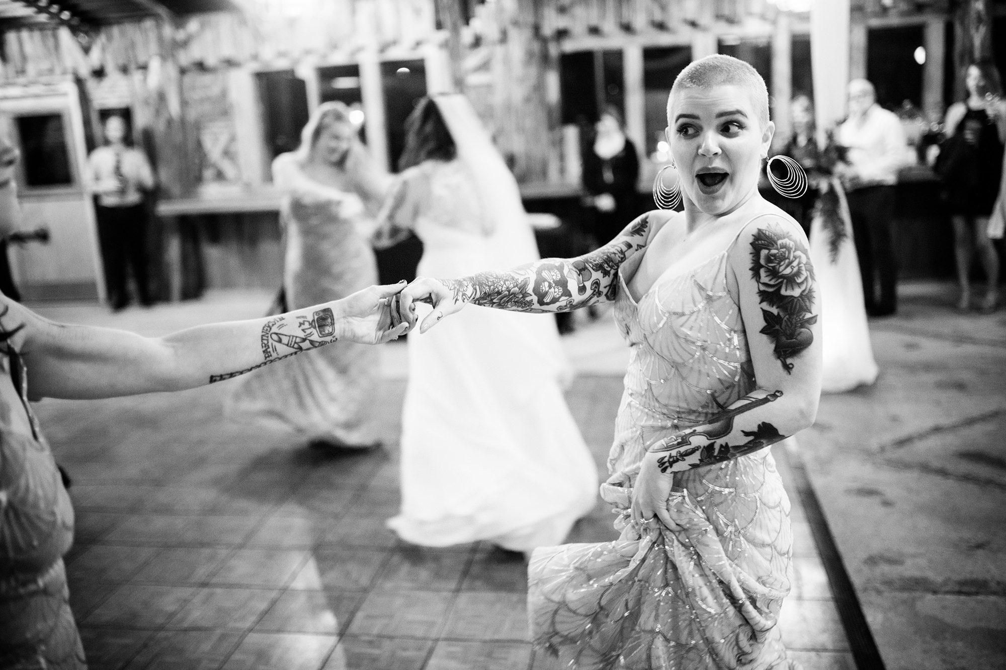 bridesmaid dancing