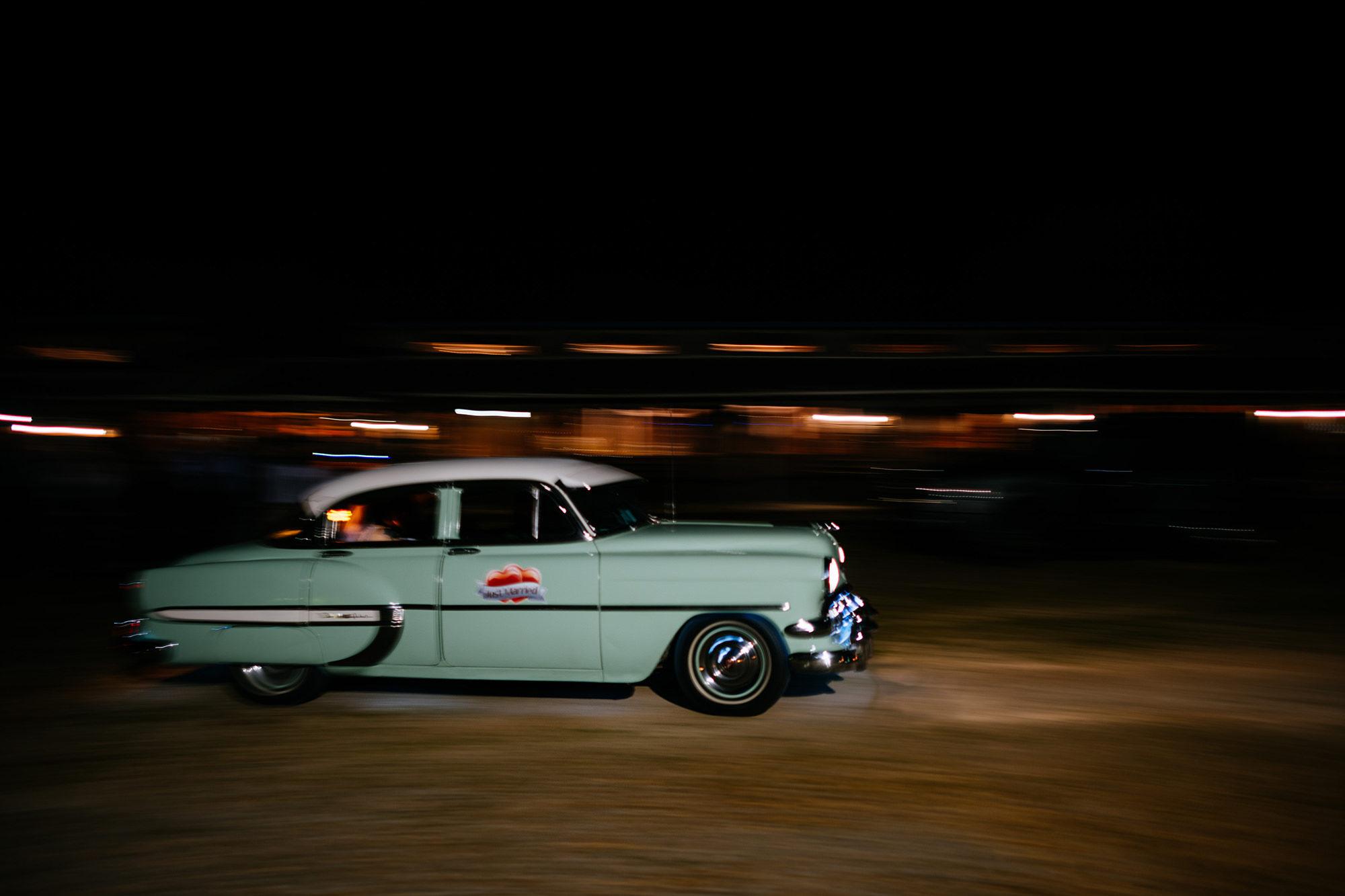 car leaving wedding