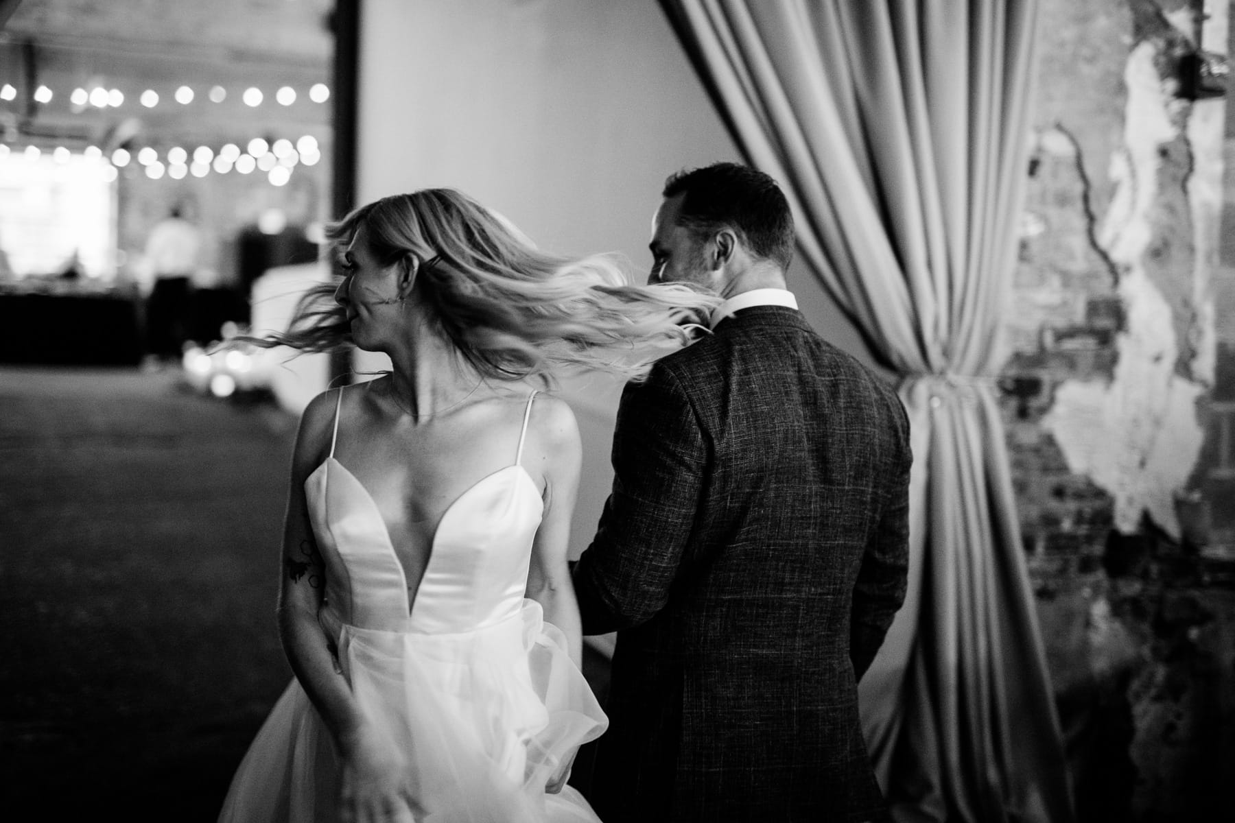 bride whipping hair after long view gallery dc wedding