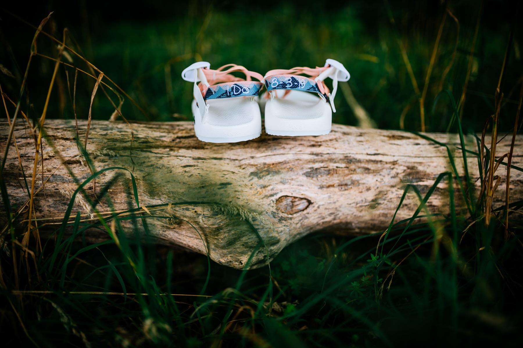 wedding shoes outside