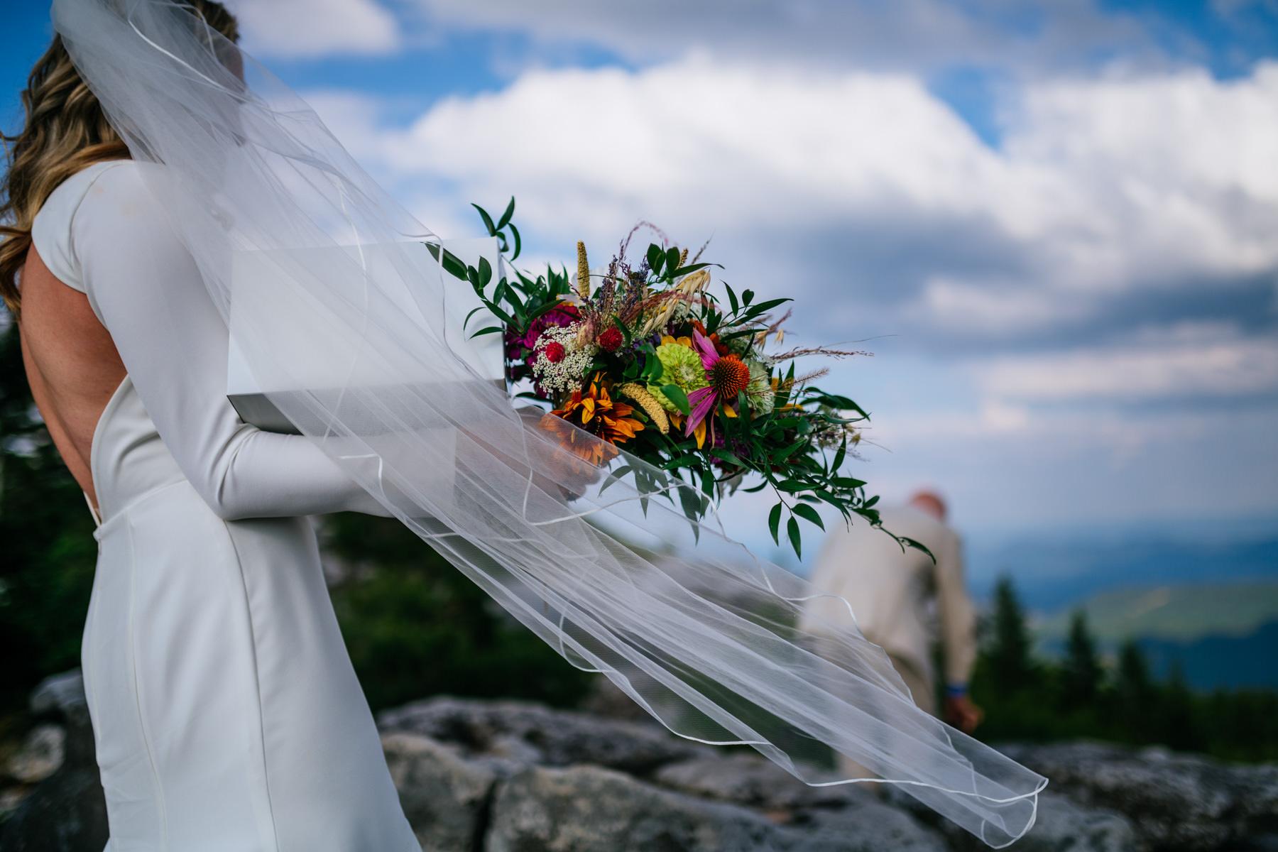 bridal bouquet and veil