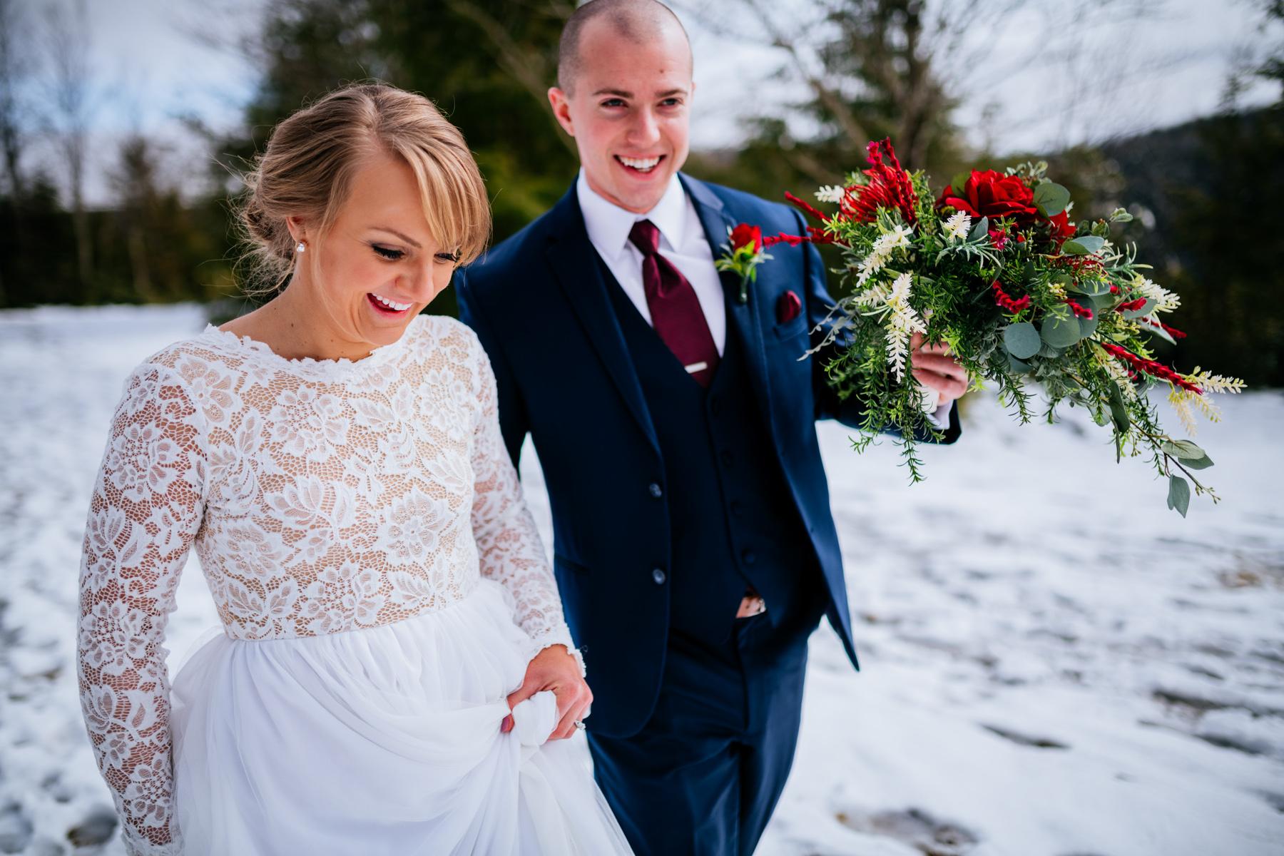 bride and groom walking blackwater state park