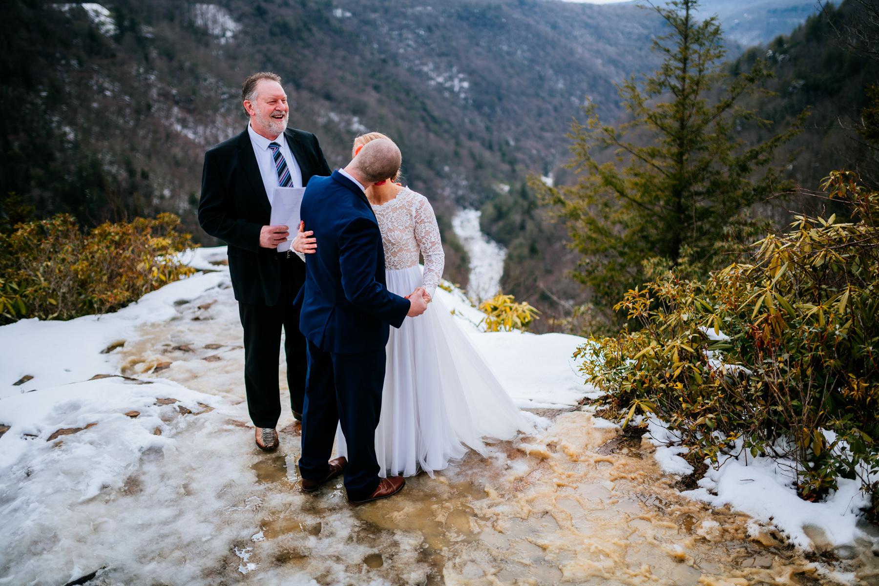 pendleton point wedding ceremony first kiss