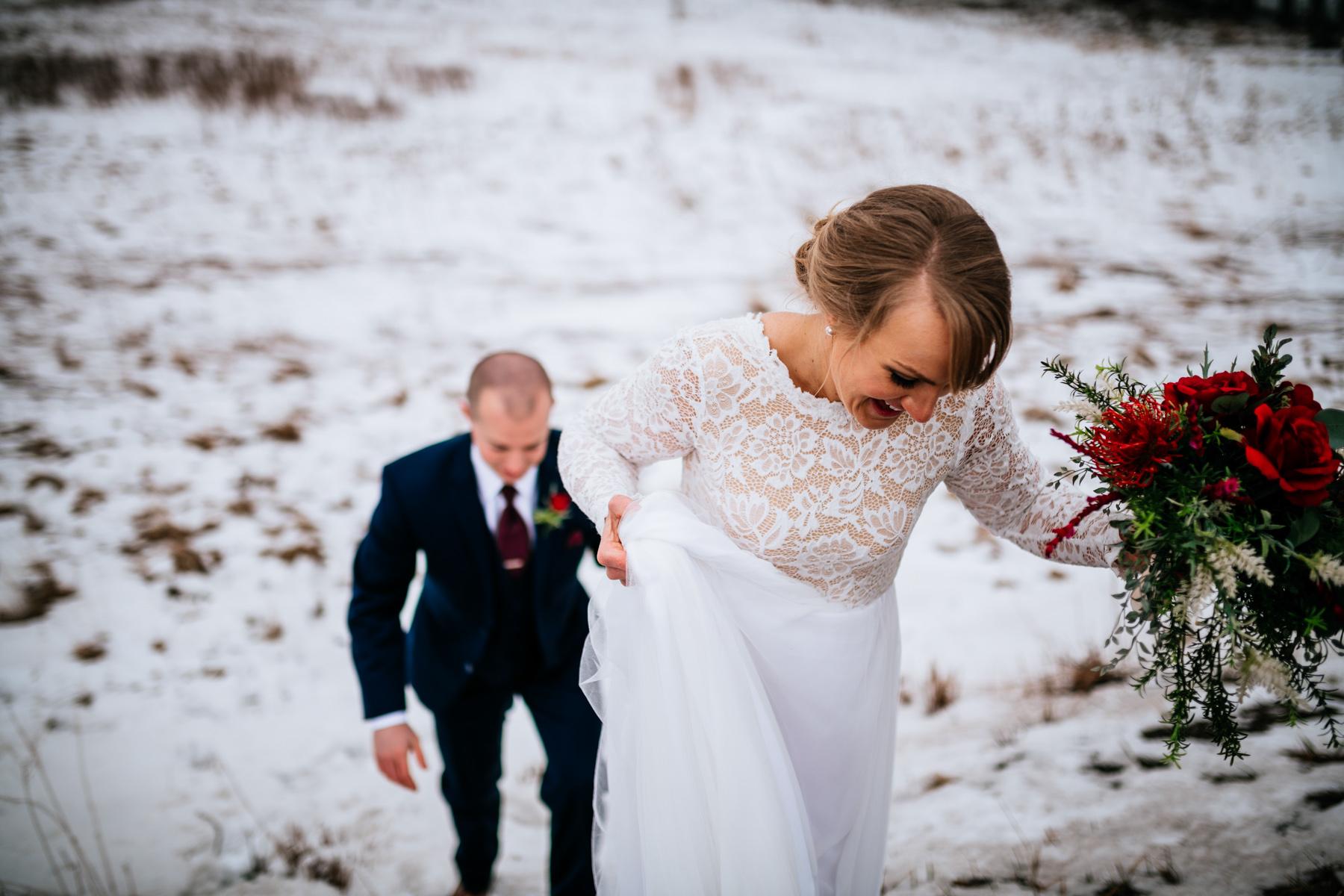 bride running up a hill