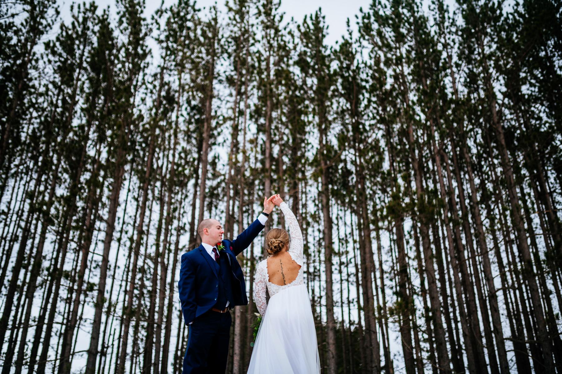 groom spins bride pendleton point wedding