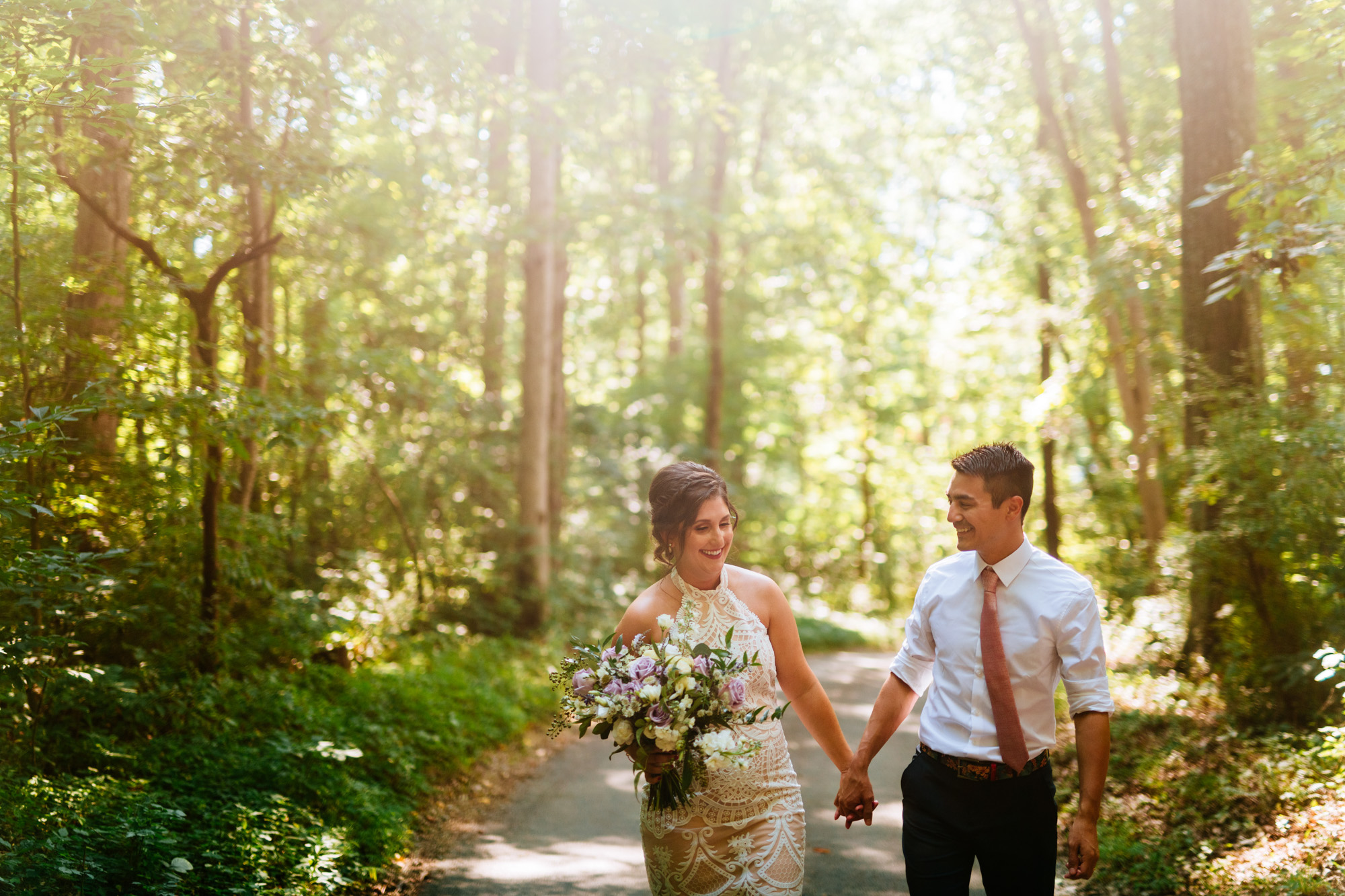 couple walking on country road