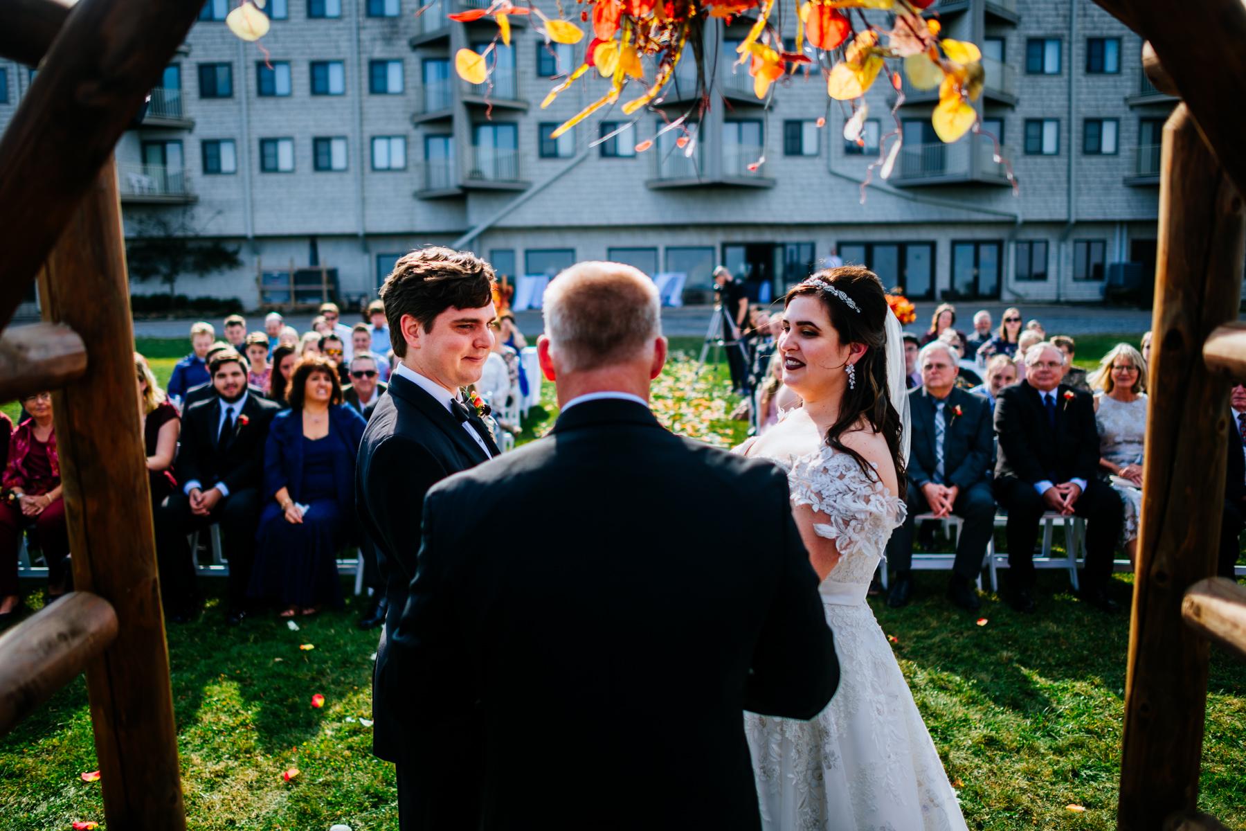 snowshoe mountain lodge wedding ceremony