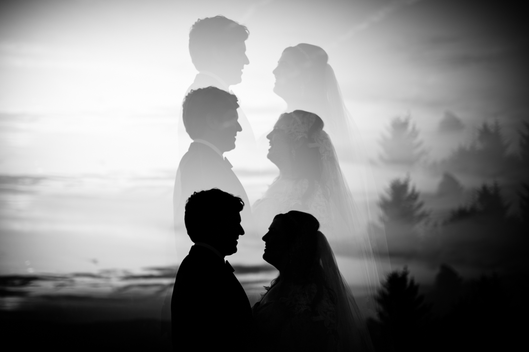 multiple exposure wedding photo