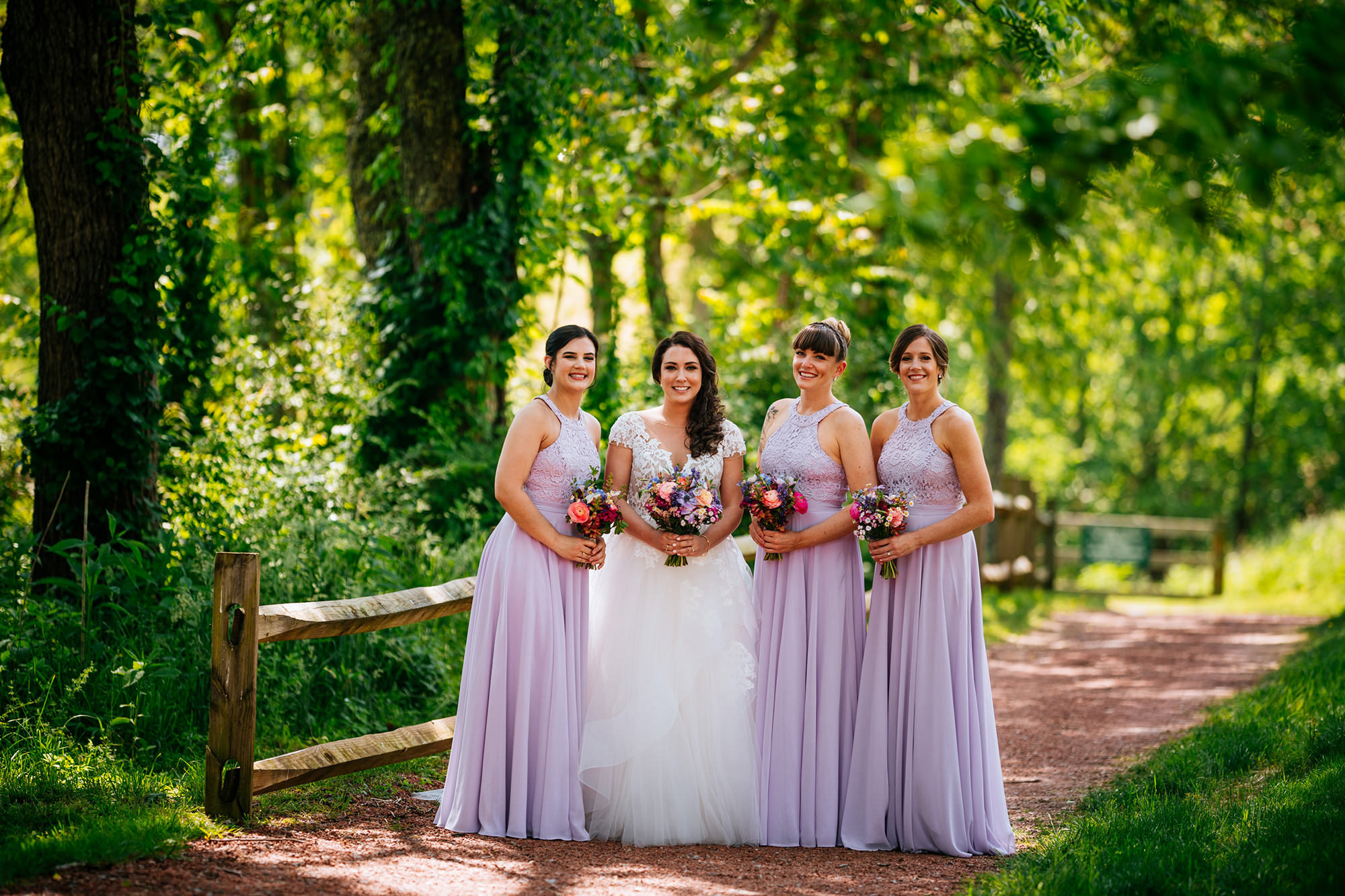 outdoors bridal party photo