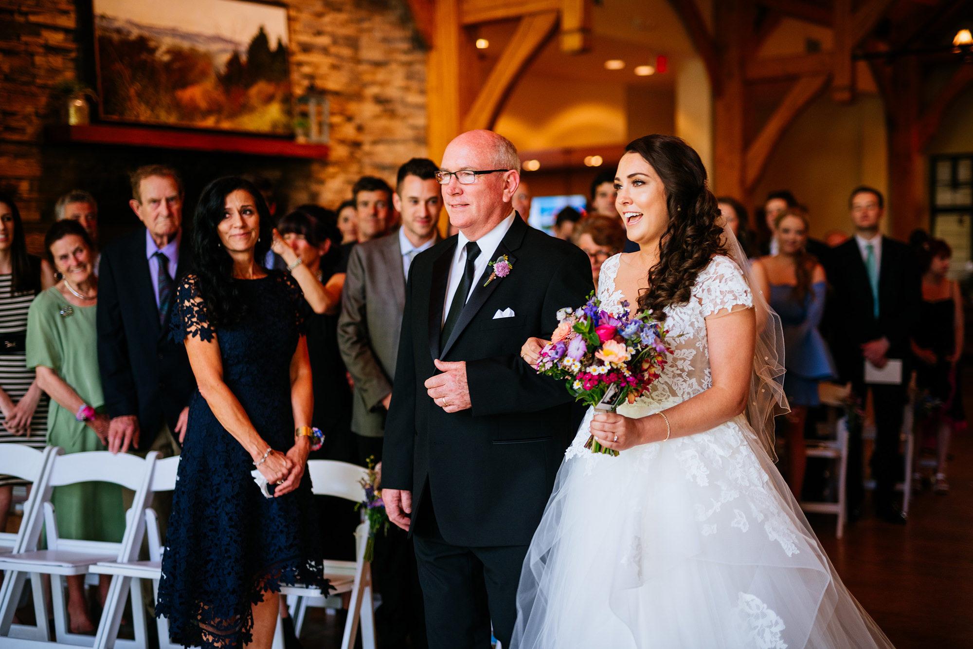 bride and dad walking down aisle stonewall resort wedding