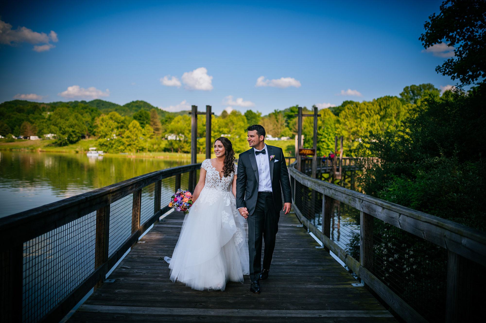 bride groom walking stonewall resort wedding