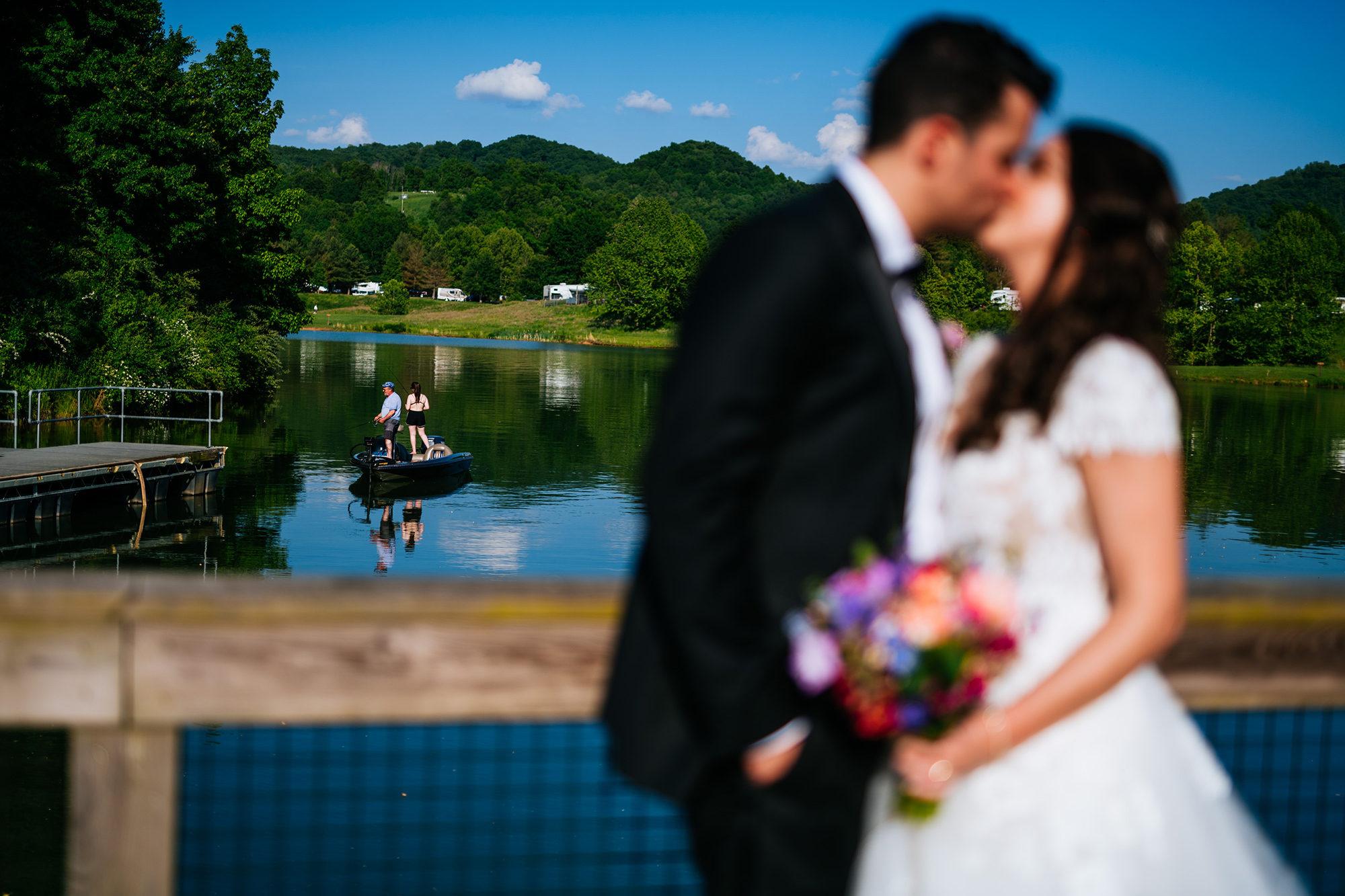 people fishing at stonewall resort wedding