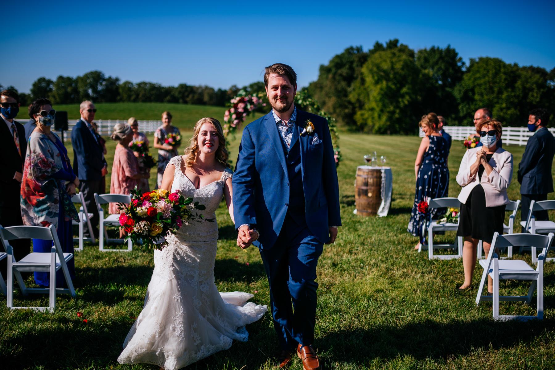 just married vignon manor farm wedding