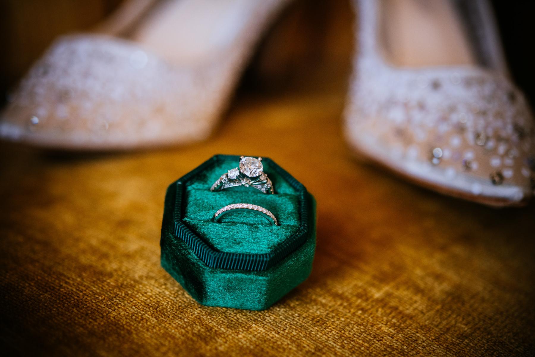 wedding rings in green box