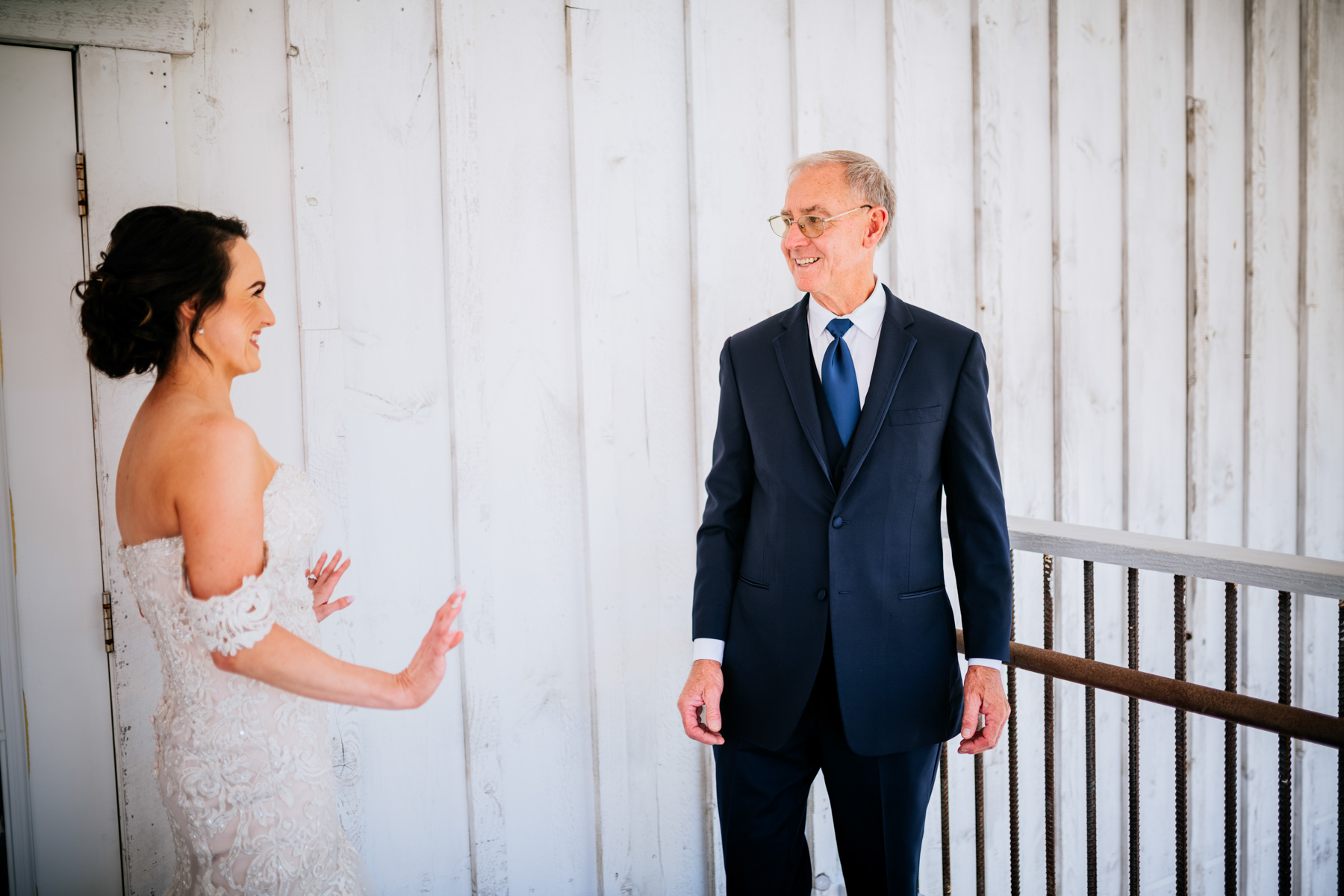 bride sees dad after getting dress on