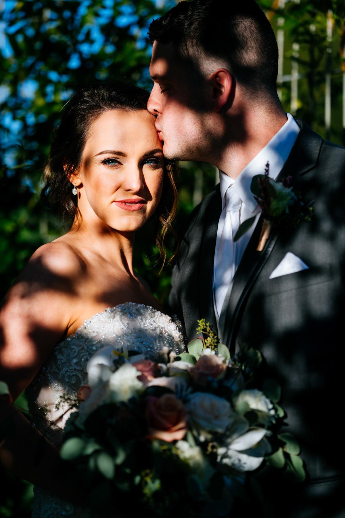 cool shadows wedding portrait