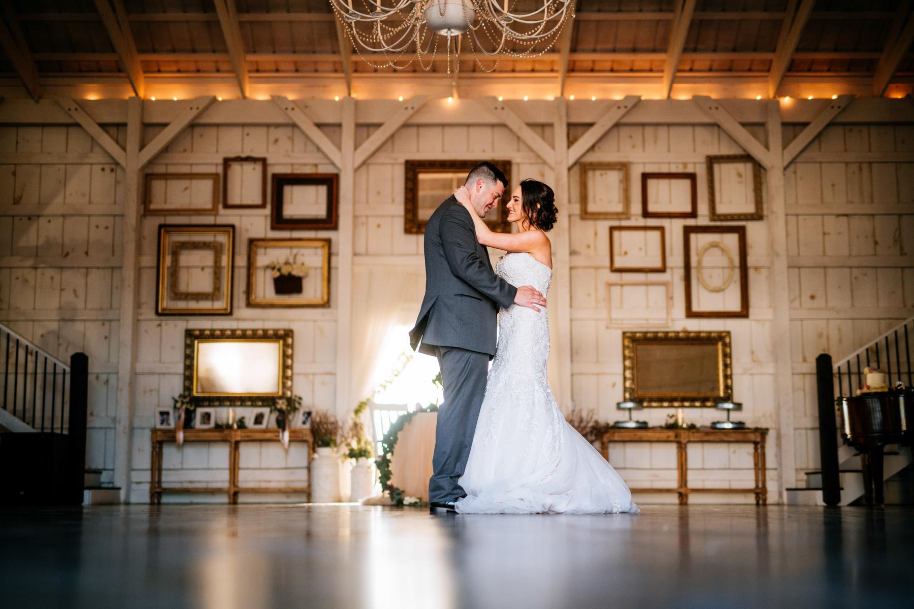 first dance white barn at lucas farm wedding