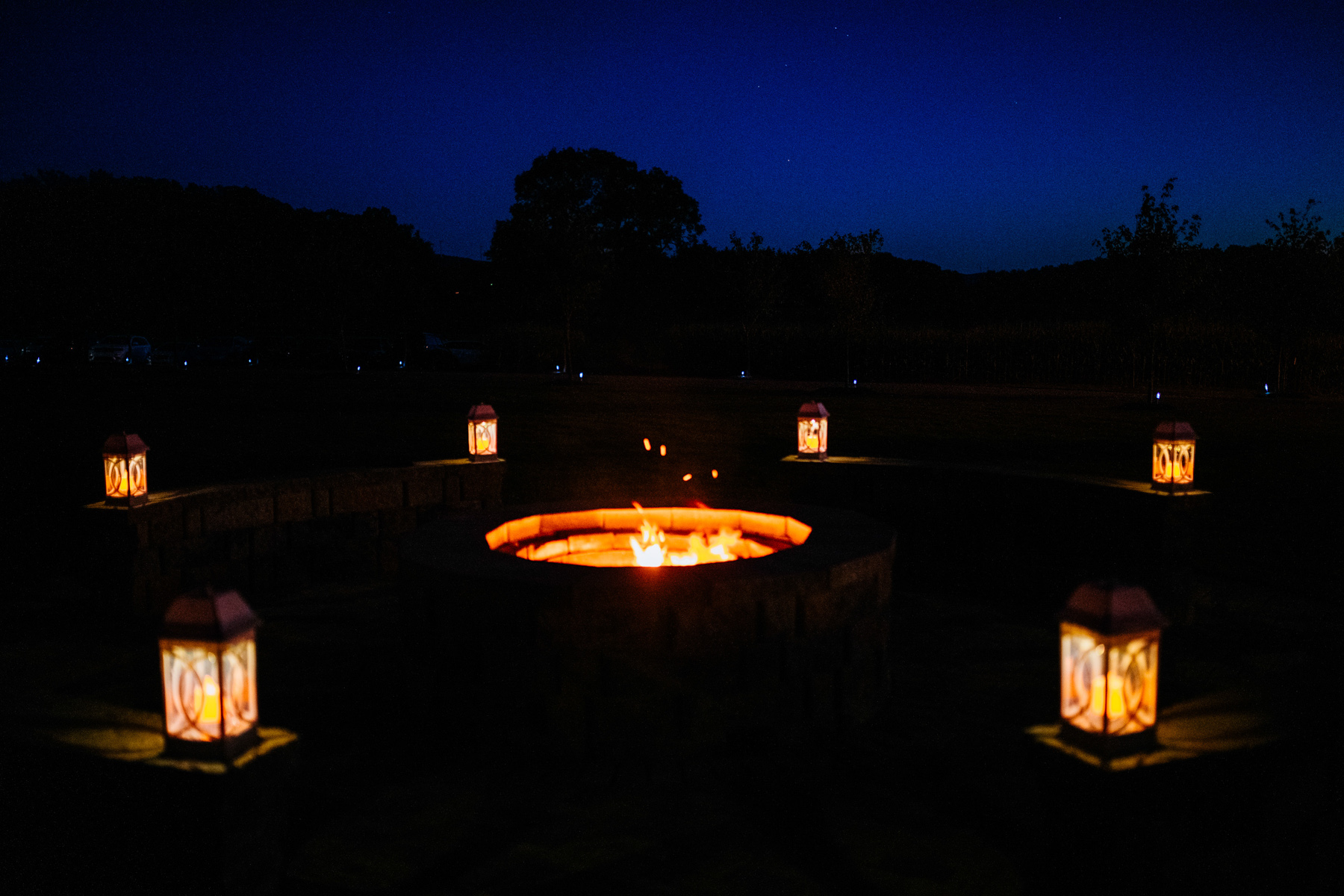 fire pit at white barn