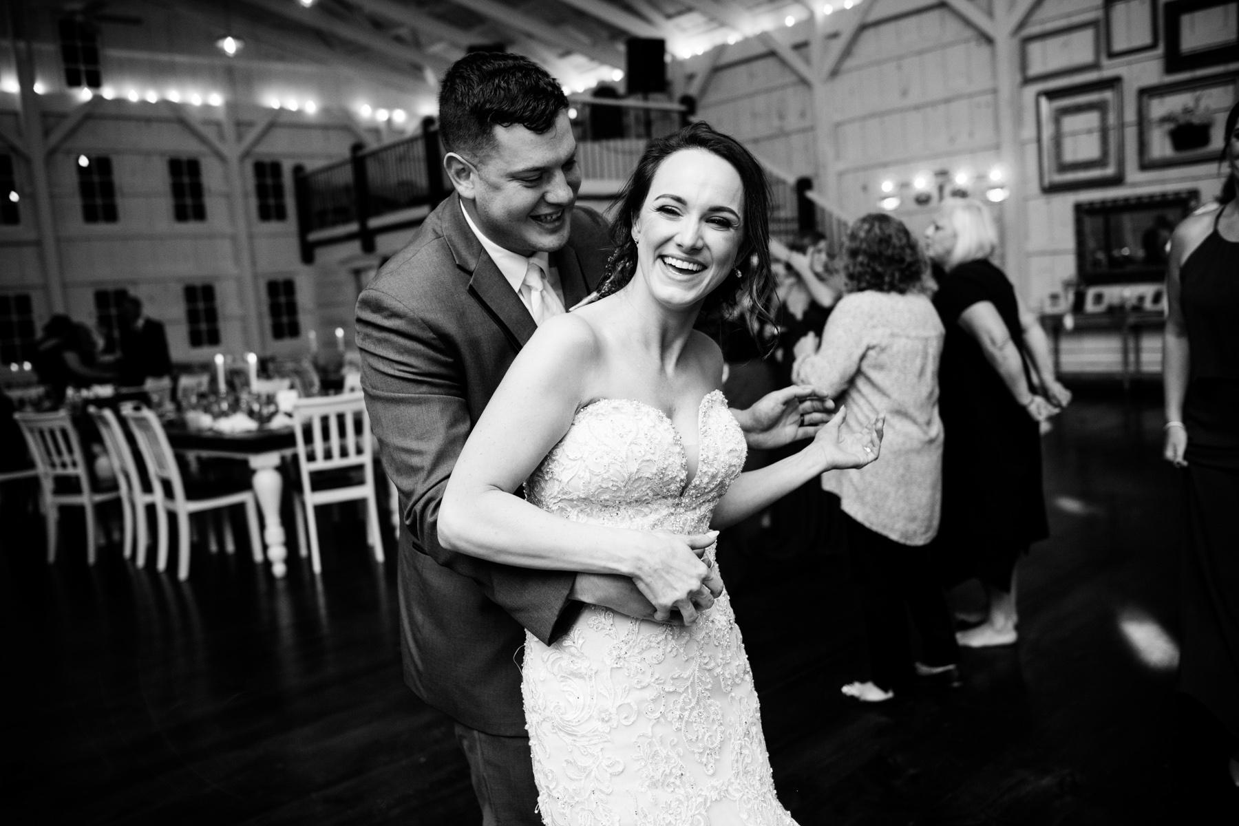 groom dances with bride
