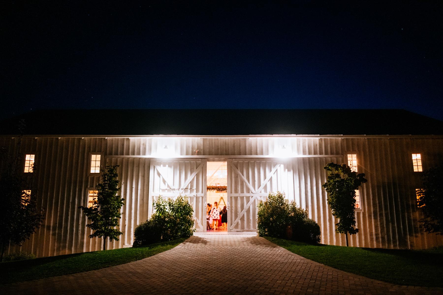 white barn at lucas farm wedding reception