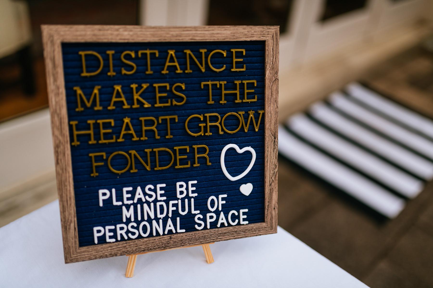 social distancing wedding sign