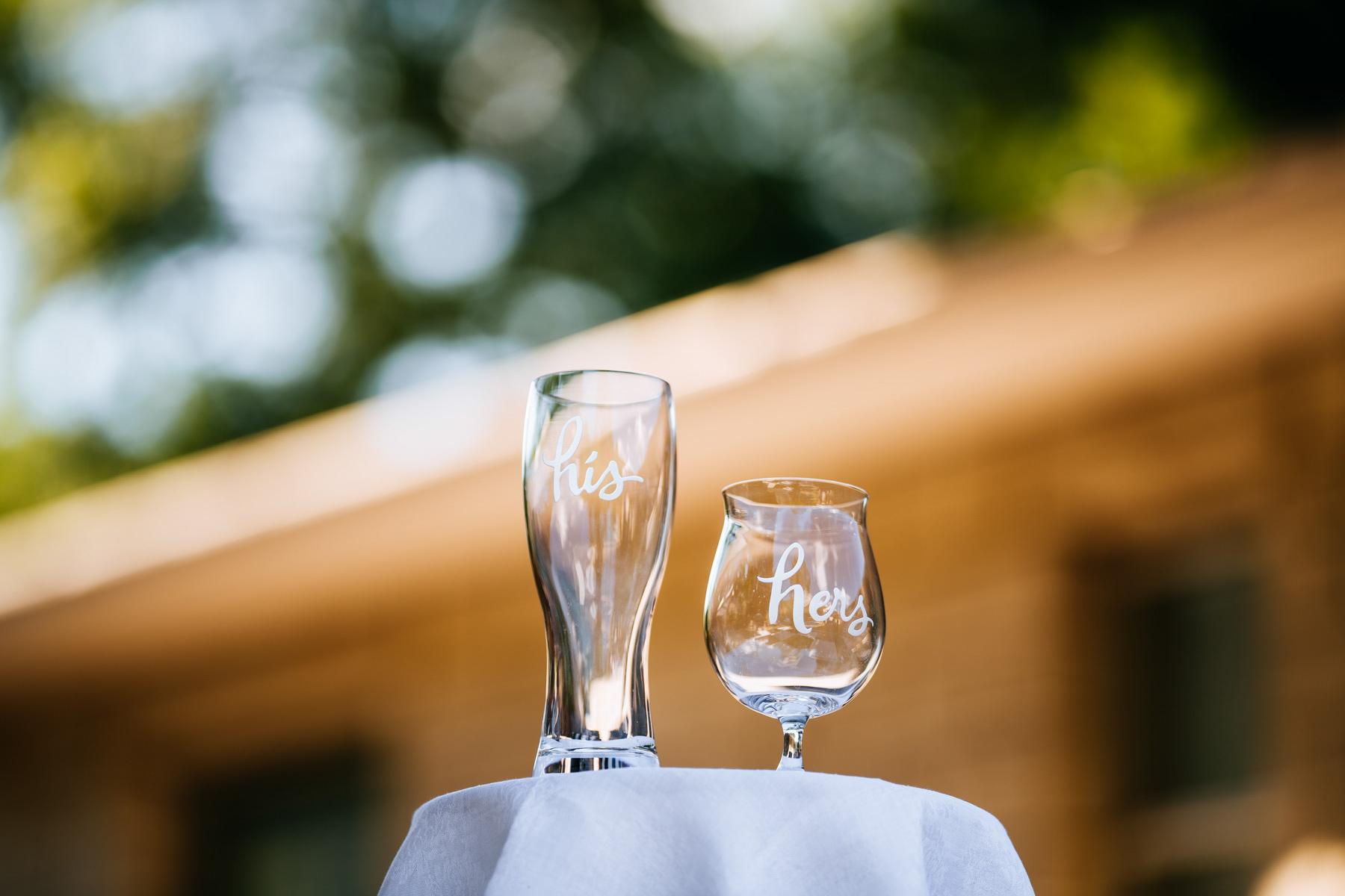 wedding beer glasses
