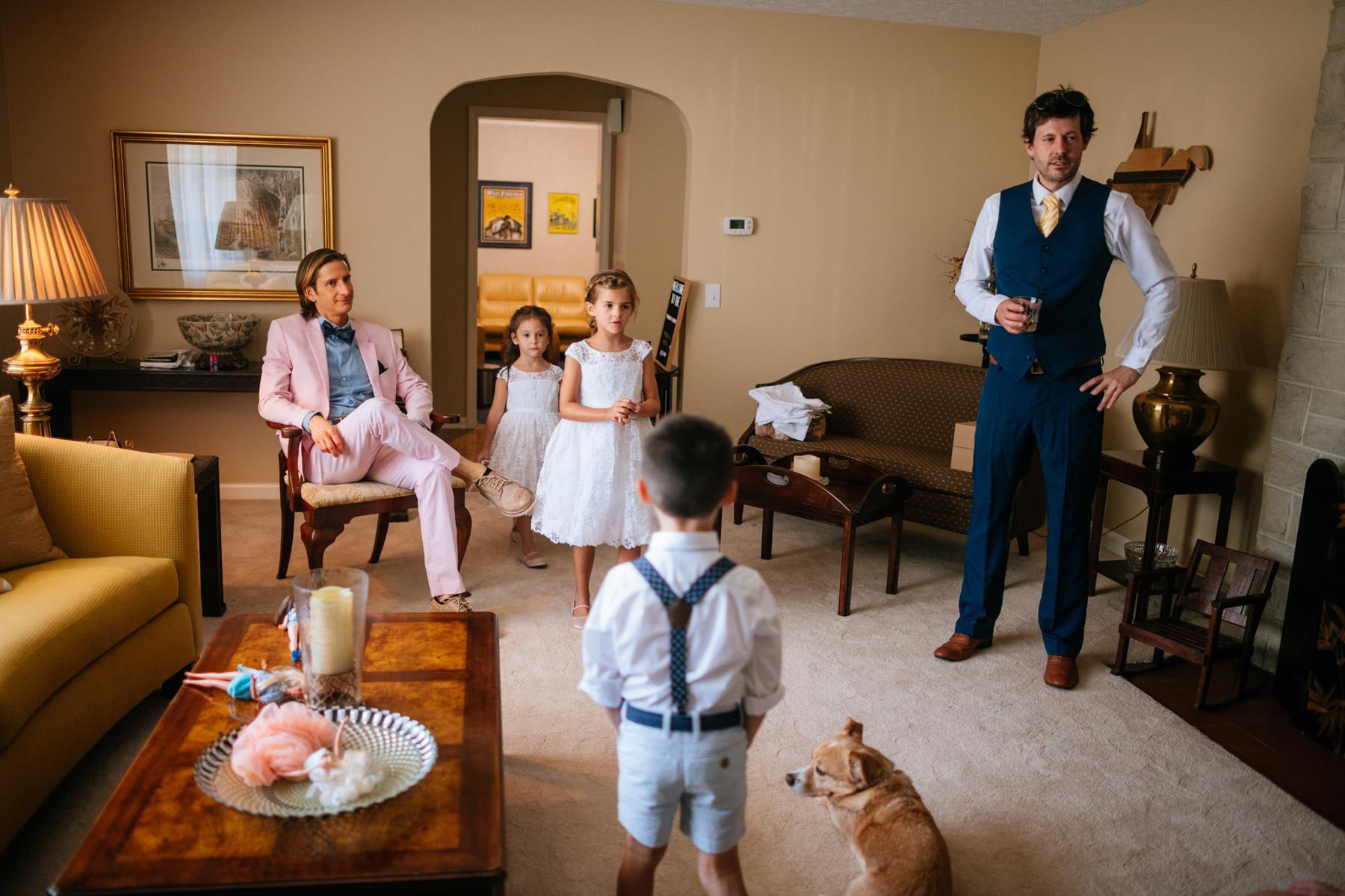 groom in living room