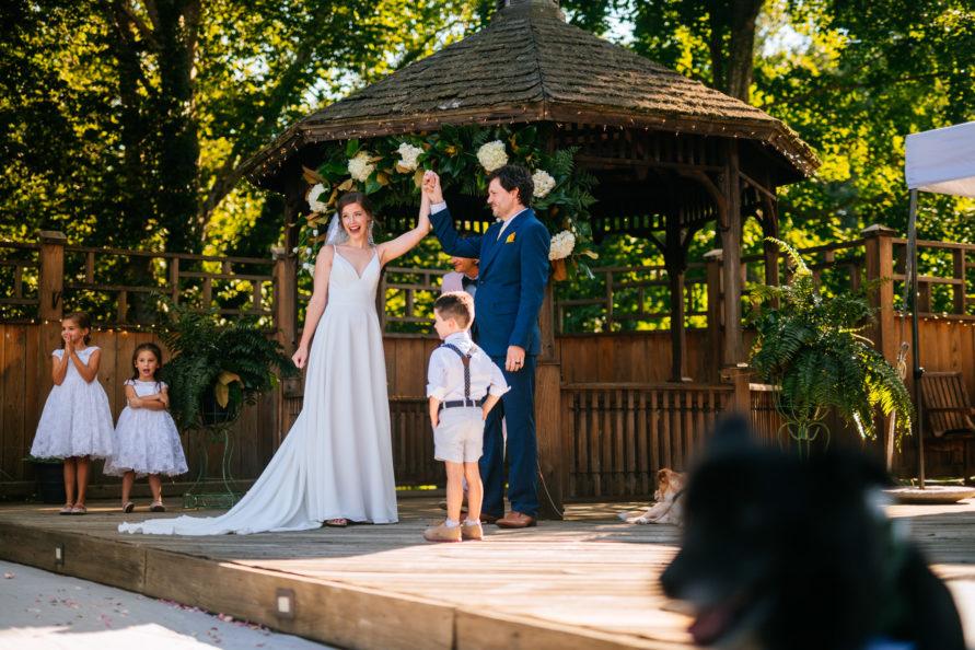 just married at backyard wedding