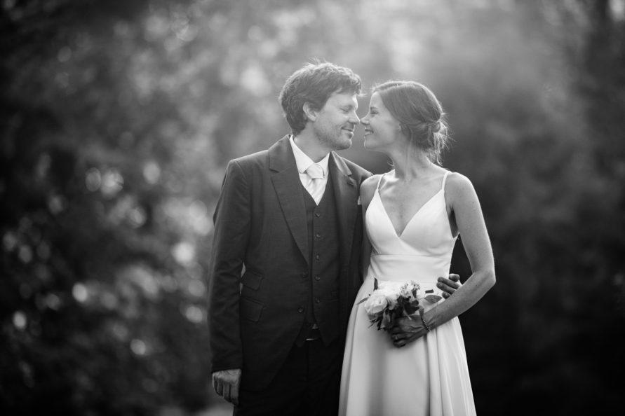 black and white happy bride groom
