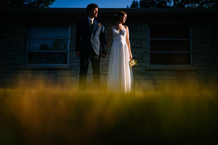 hard sunlight portrait bride groom