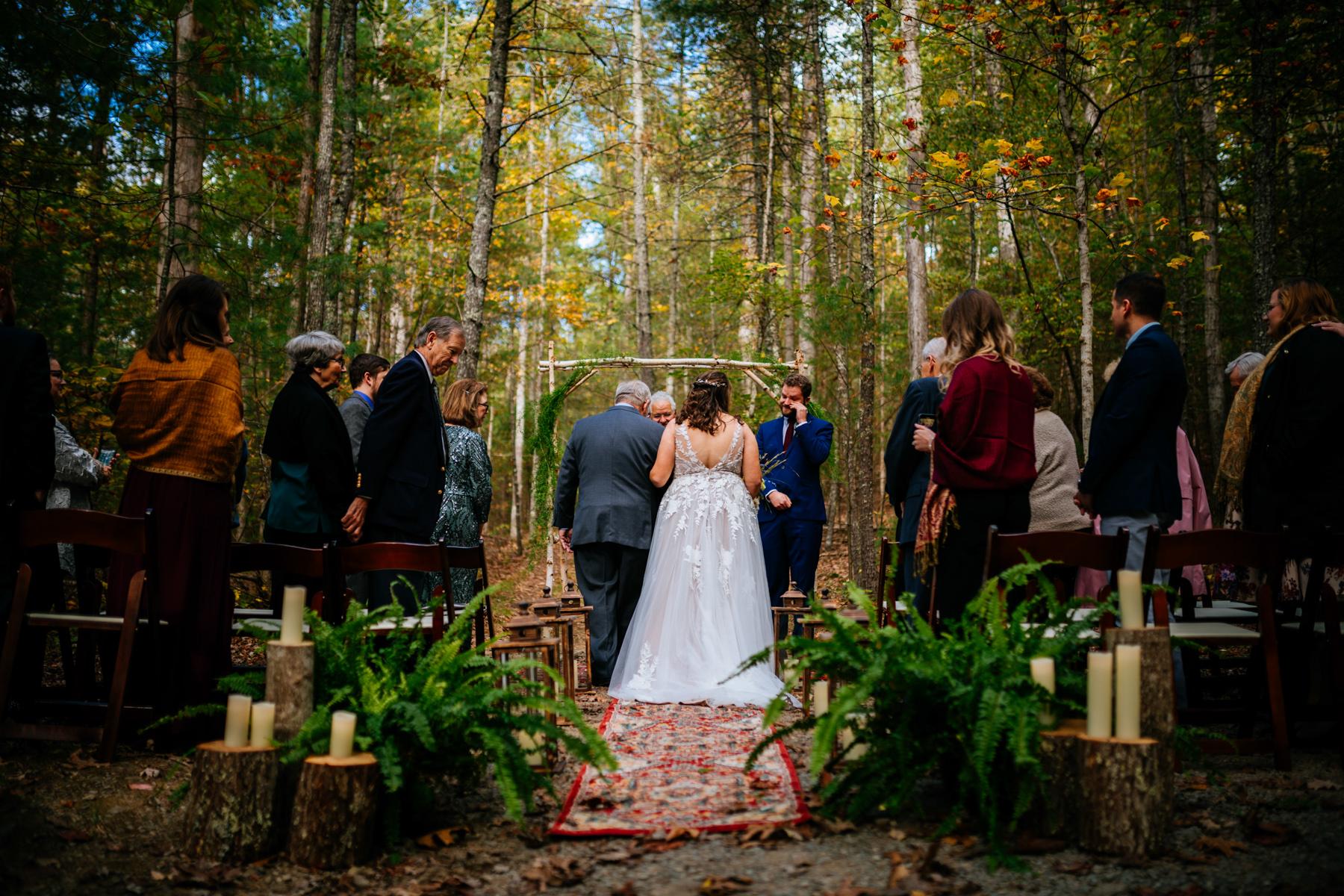 bride walking down aisle wv micro wedding
