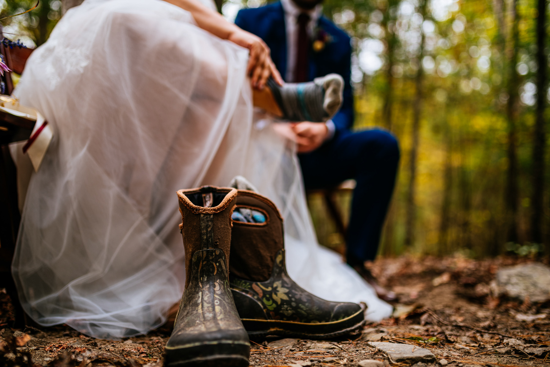 bride changes into hiking boots