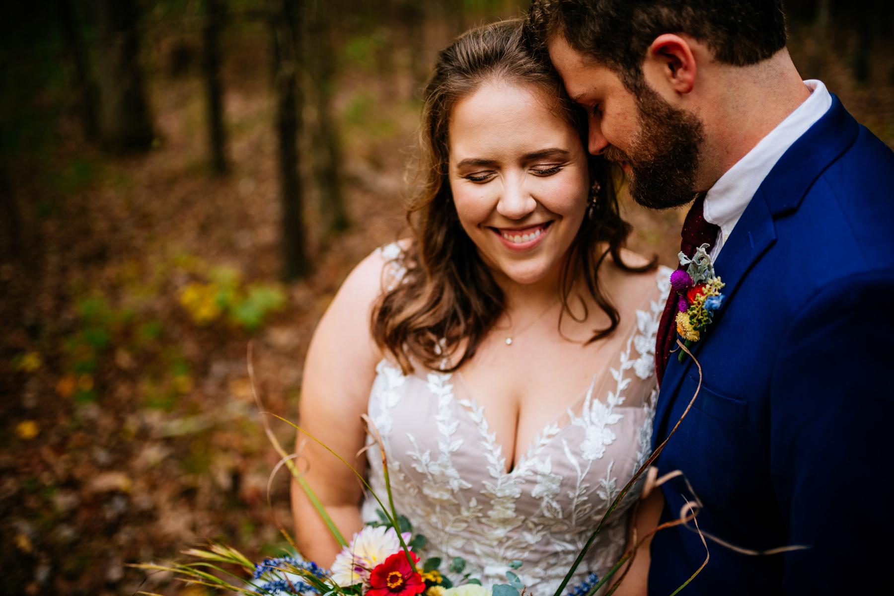 bride groom snuggling