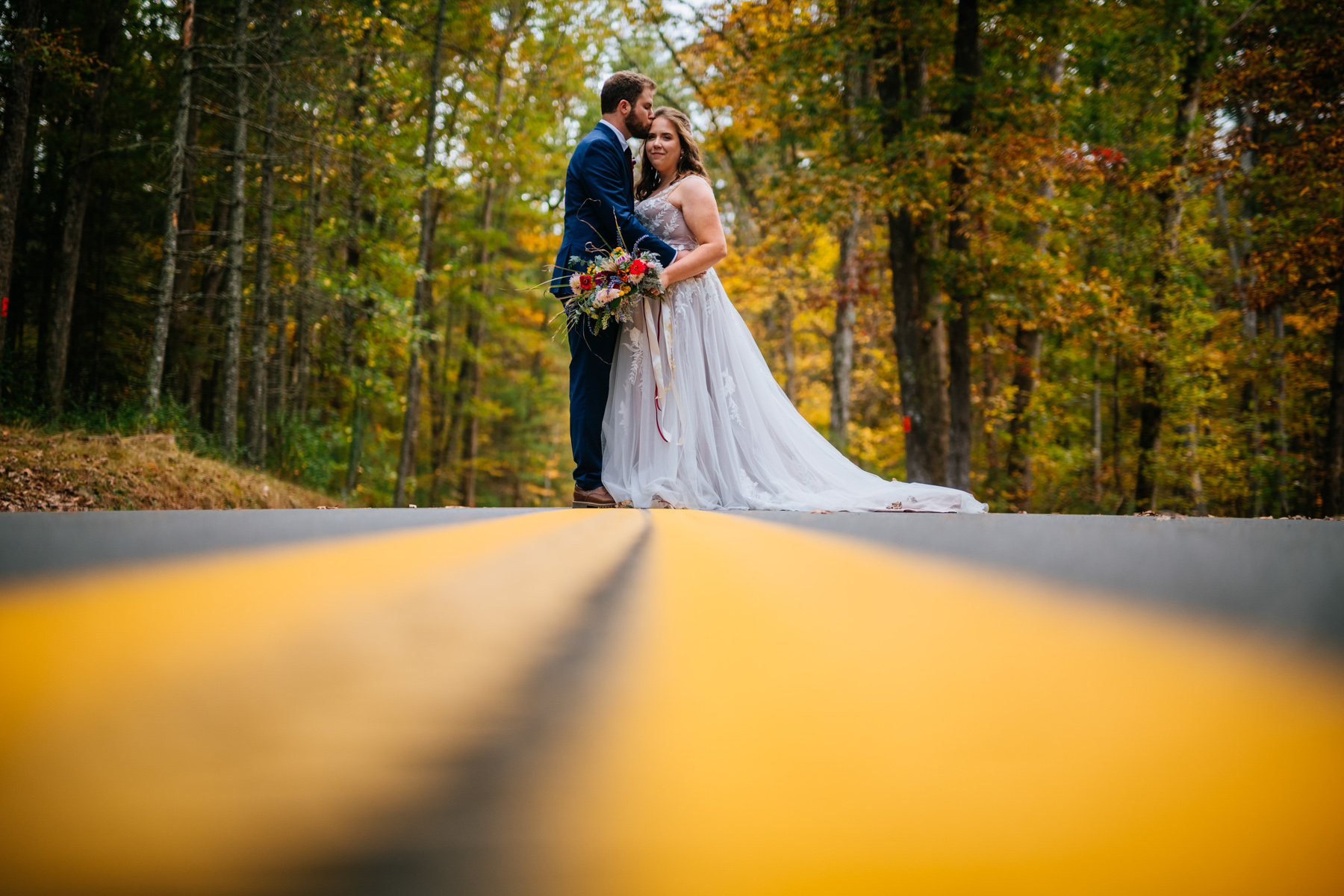 wv micro wedding portraits in road