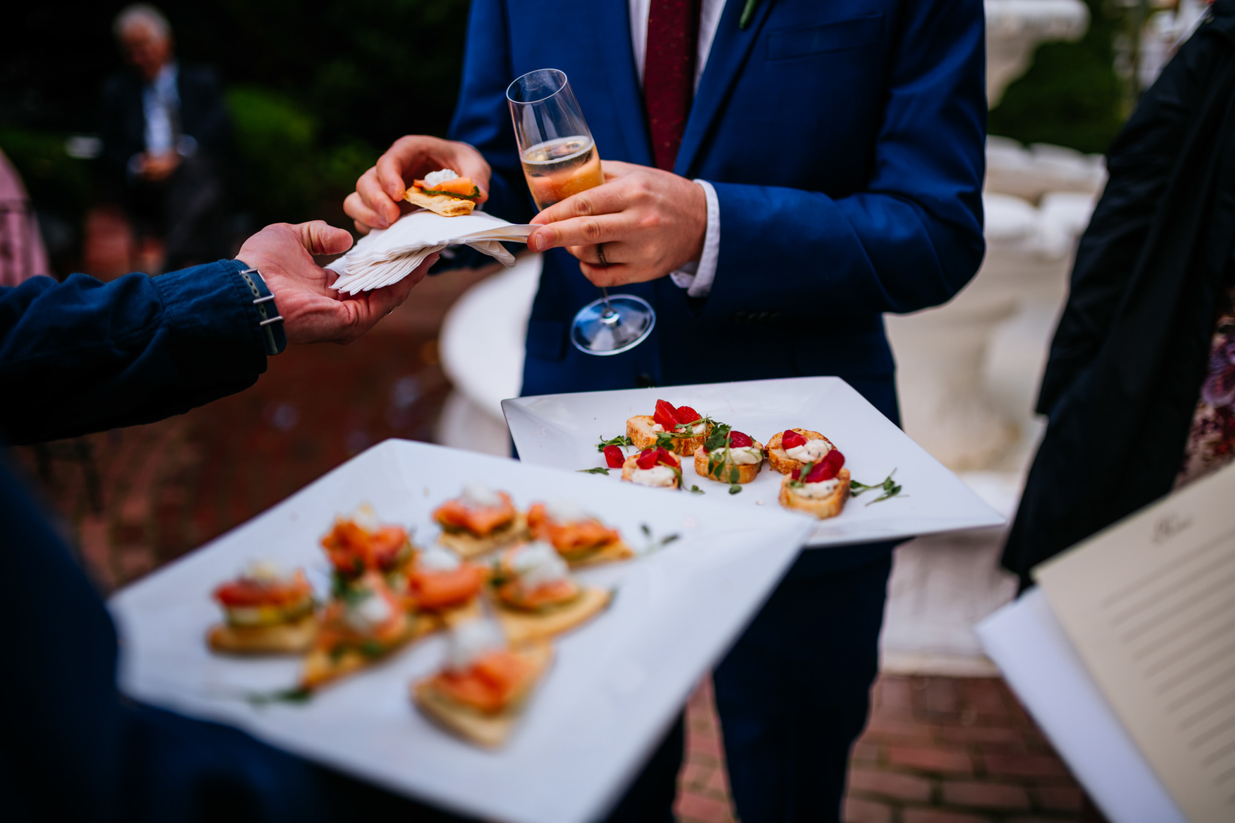 hors d'oeuvres at wedding french goat